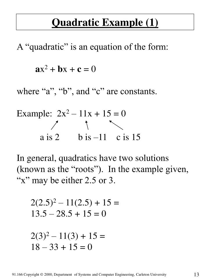 Quadratic Example (1)