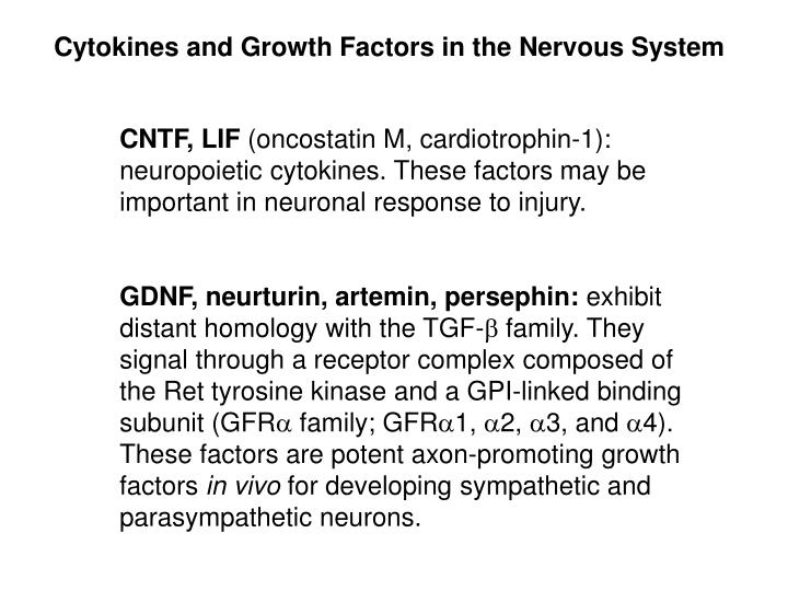 Cytokines and Growth Factors in the Nervous System
