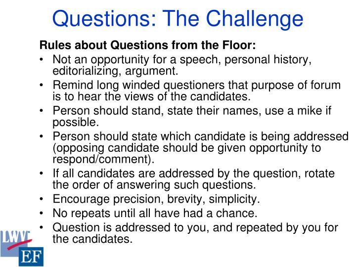 Questions: The Challenge
