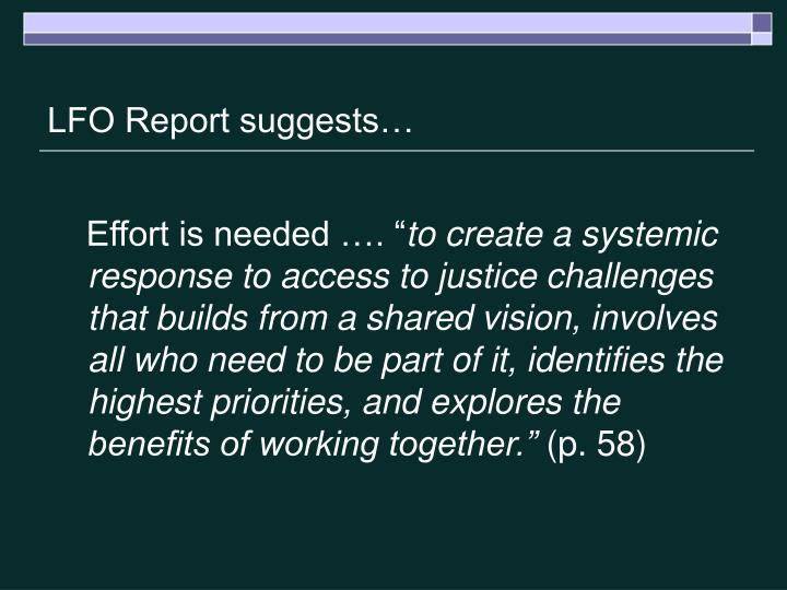 LFO Report suggests…