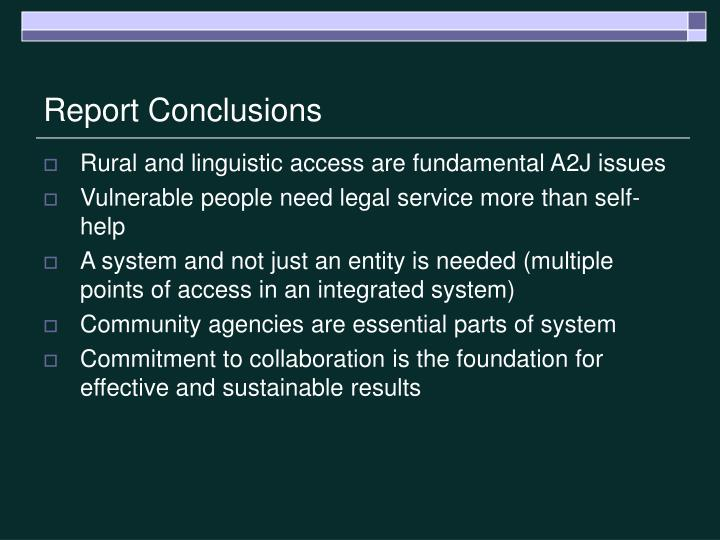 Report Conclusions