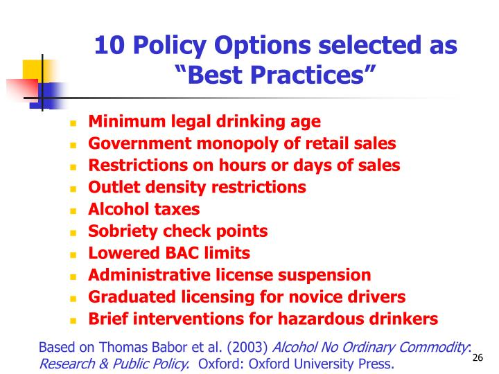 "10 Policy Options selected as ""Best Practices"""