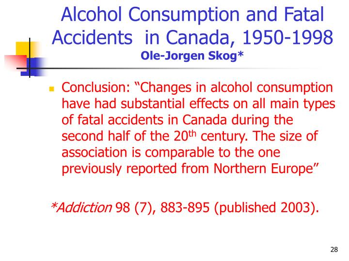 Alcohol Consumption and Fatal Accidents  in Canada, 1950-1998