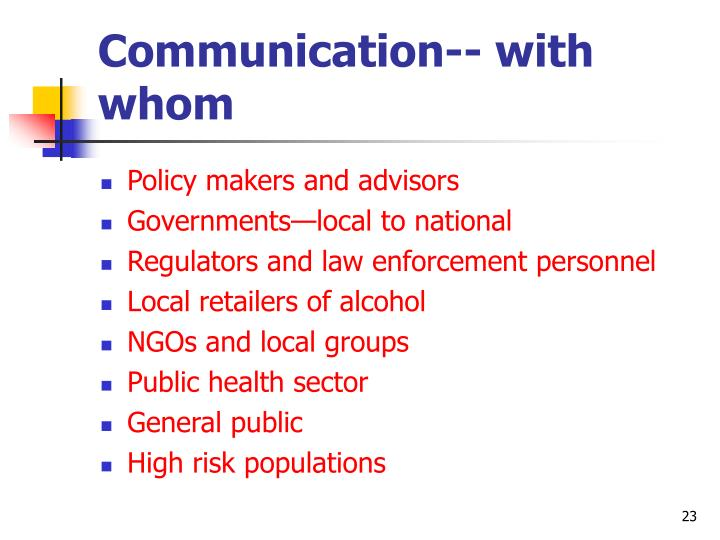 Communication-- with whom