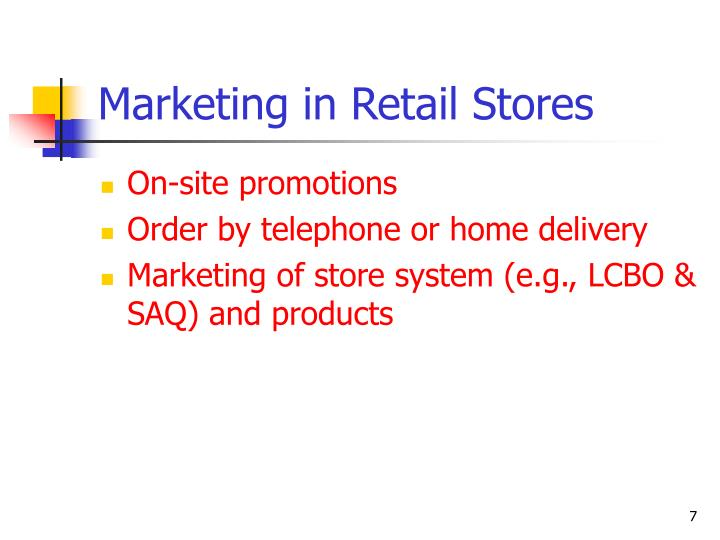 Marketing in Retail Stores