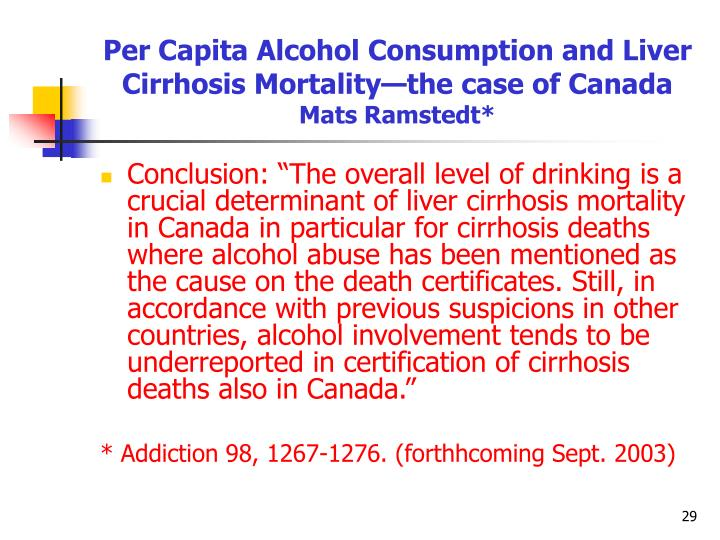 Per Capita Alcohol Consumption and Liver Cirrhosis Mortality—the case of Canada