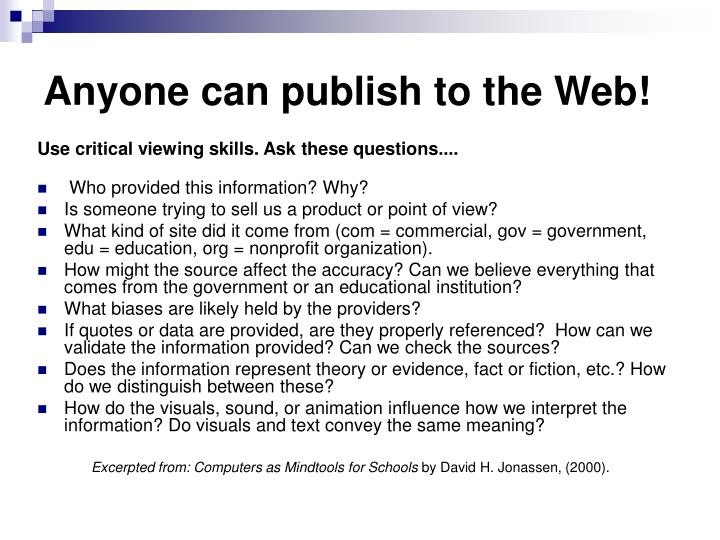 Anyone can publish to the Web!