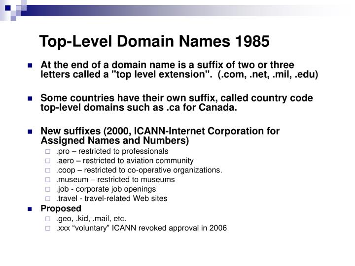 Top-Level Domain Names 1985
