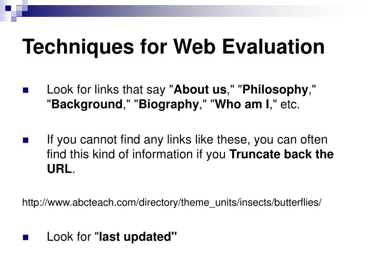 Techniques for Web Evaluation