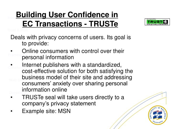 Deals with privacy concerns of users. Its goal is to provide: