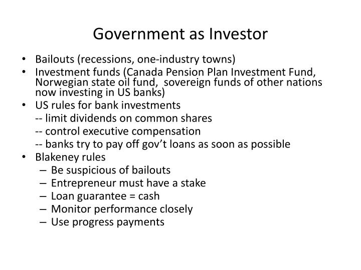 Government as Investor