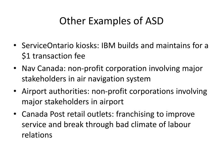 Other Examples of ASD