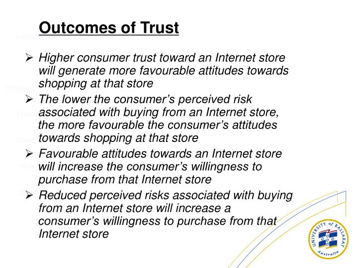 Higher consumer trust toward an Internet store will generate more favourable attitudes towards shopping at that store