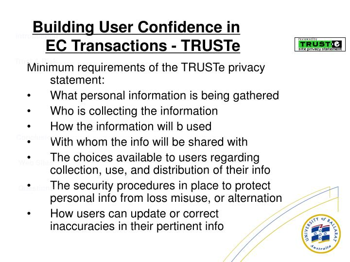 Minimum requirements of the TRUSTe privacy statement: