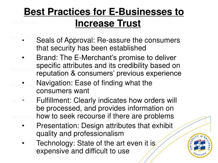 Seals of Approval: Re-assure the consumers that security has been established