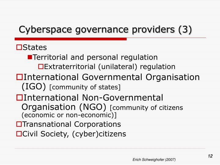 Cyberspace governance providers (3)