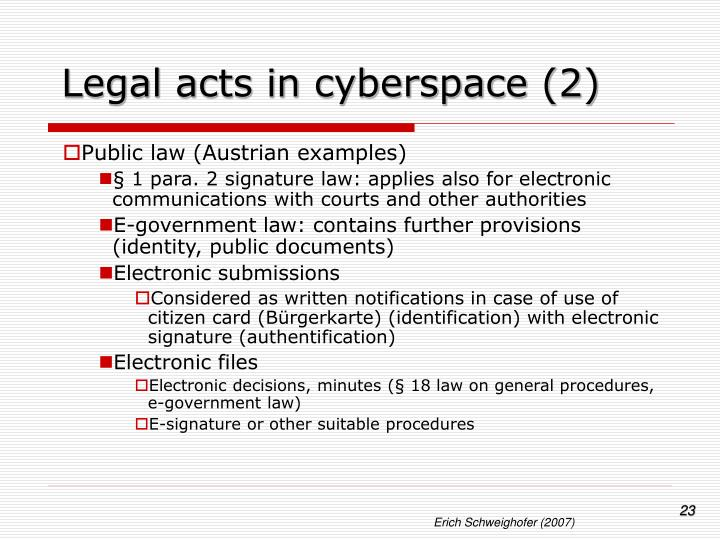 Legal acts in cyberspace (2)