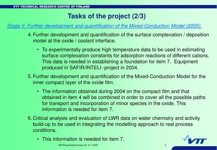 Tasks of the project (2/3)