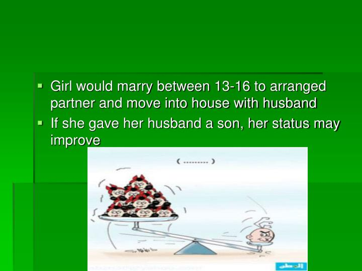 Girl would marry between 13-16 to arranged partner and move into house with husband