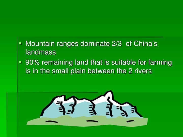Mountain ranges dominate 2/3  of China's landmass