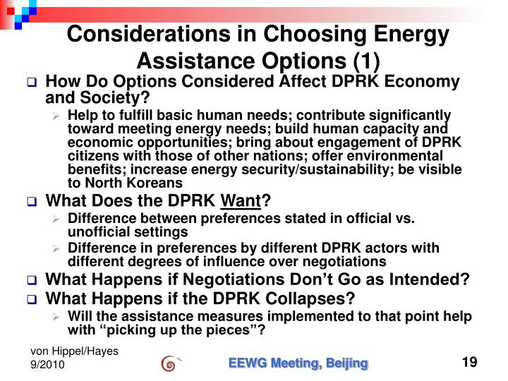 Considerations in Choosing Energy Assistance Options (1)