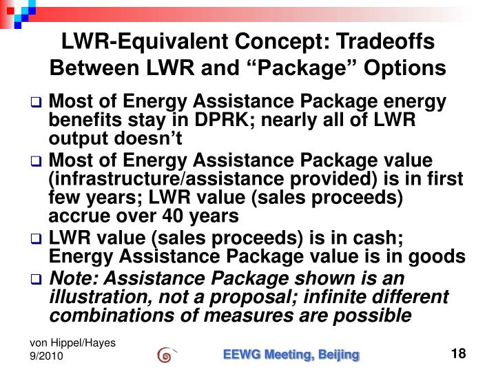 """LWR-Equivalent Concept: Tradeoffs Between LWR and """"Package"""" Options"""