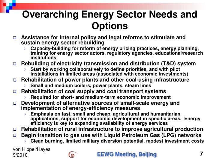 Overarching Energy Sector Needs and Options