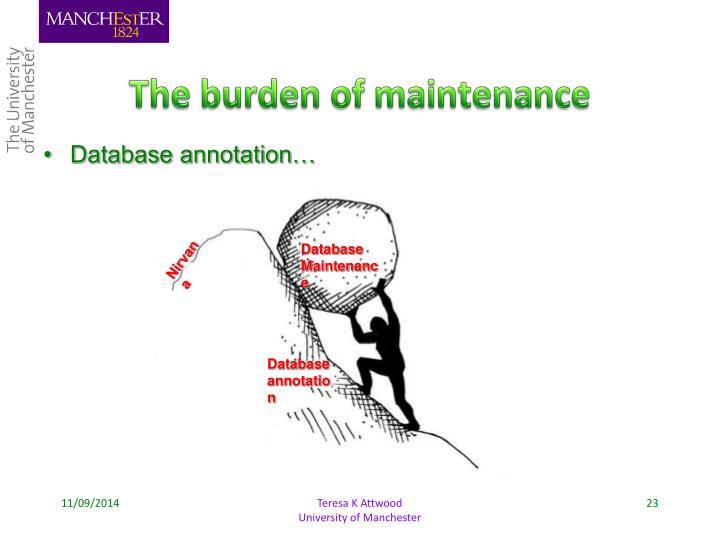 The burden of maintenance