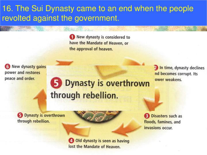 16. The Sui Dynasty came to an end when the people