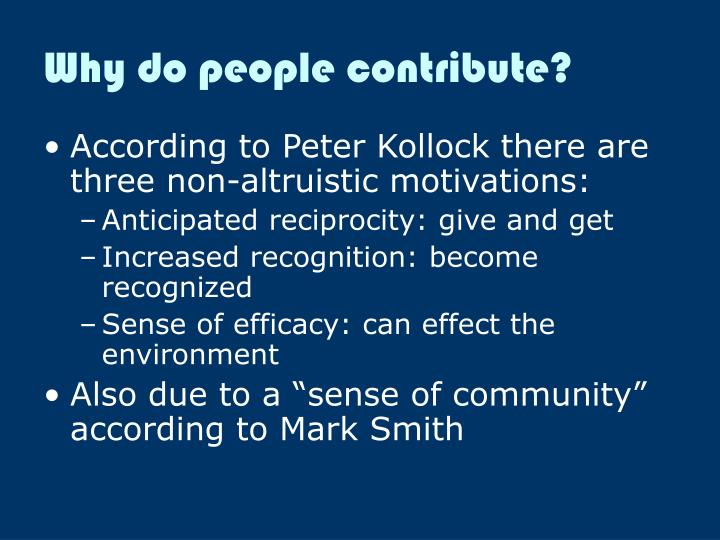 Why do people contribute?