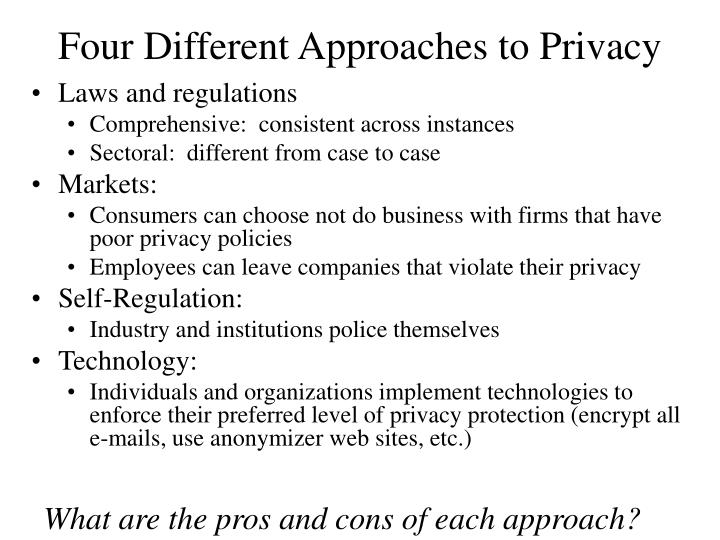 Four Different Approaches to Privacy
