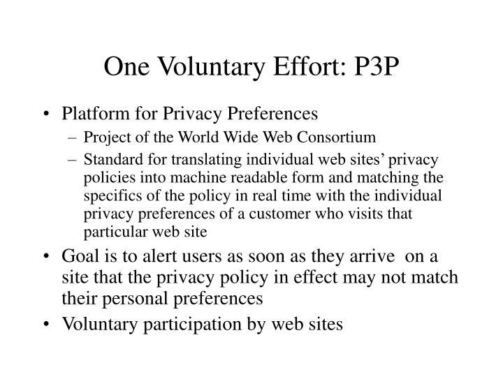 One Voluntary Effort: P3P