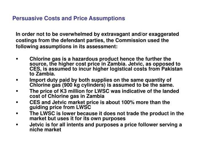 Persuasive Costs and Price Assumptions