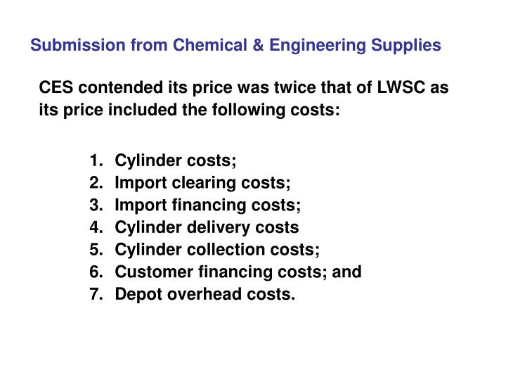 Submission from Chemical & Engineering Supplies