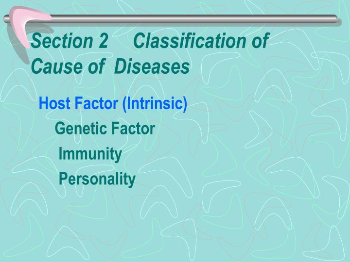 Section 2     Classification of Cause of  Diseases