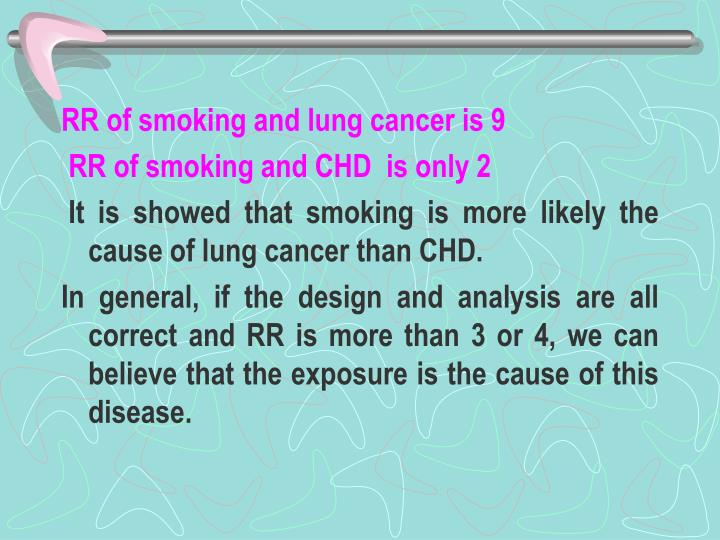 RR of smoking and lung cancer is 9