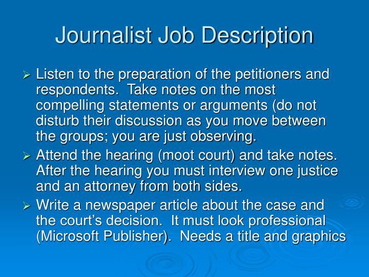 Journalist Job Description