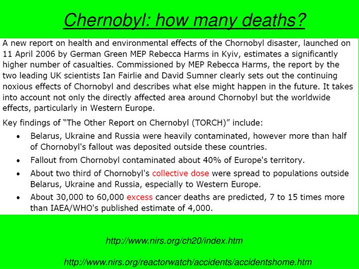 Chernobyl: how many deaths?