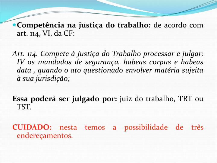 Competência na justiça do trabalho: