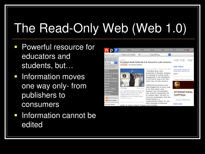 The Read-Only Web (Web 1.0)