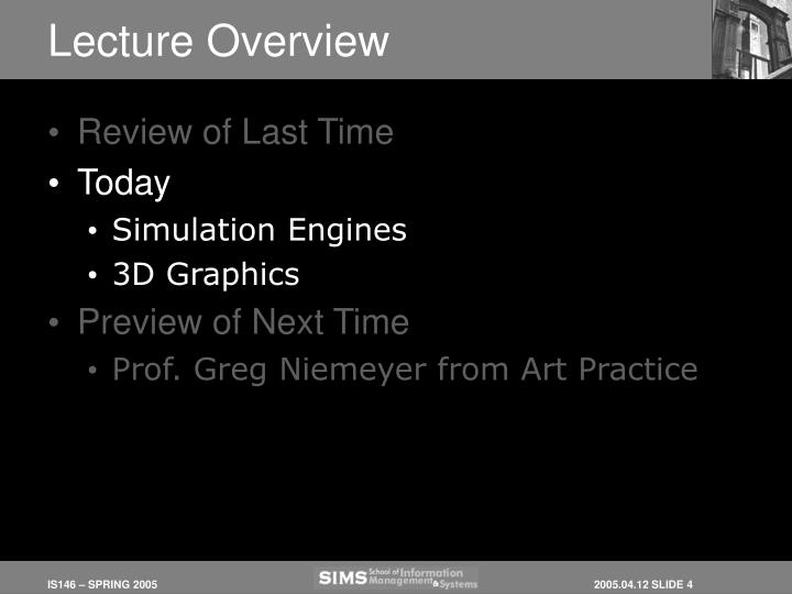 Lecture Overview