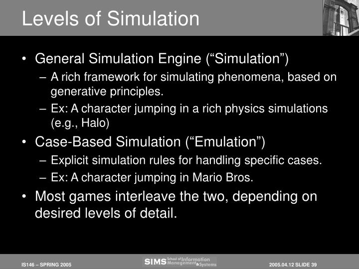 Levels of Simulation