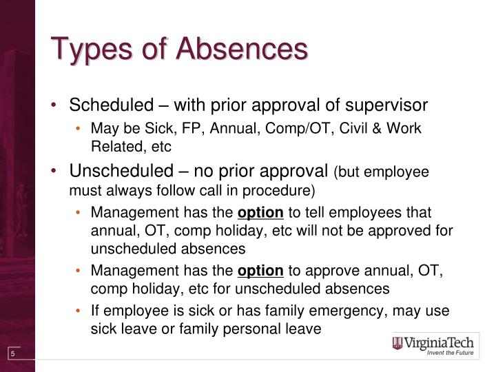 Types of Absences
