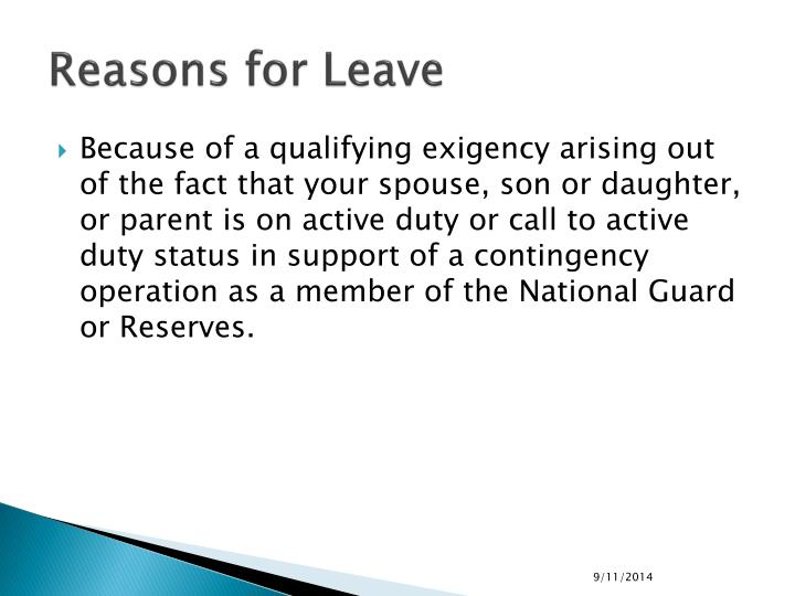 Reasons for Leave