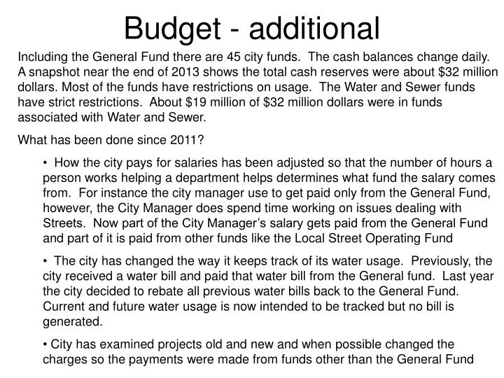 Budget - additional