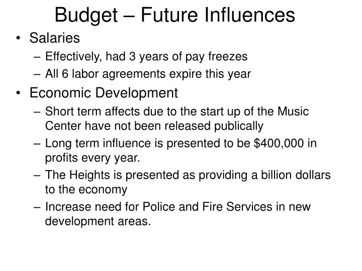 Budget – Future Influences