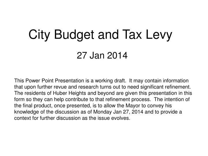 city budget and tax levy