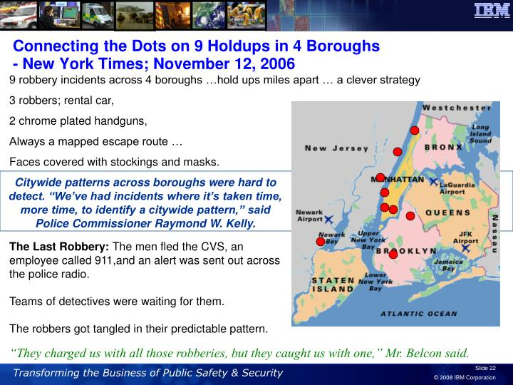 Connecting the Dots on 9 Holdups in 4 Boroughs