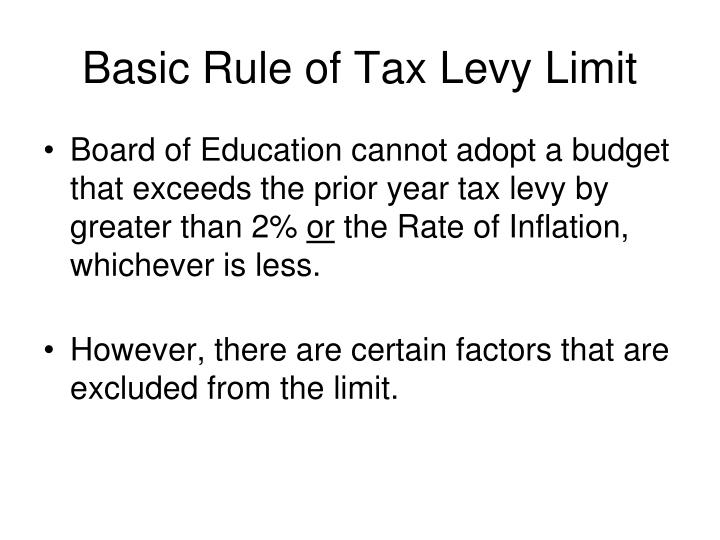 Basic Rule of Tax Levy Limit