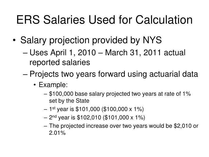 ERS Salaries Used for Calculation